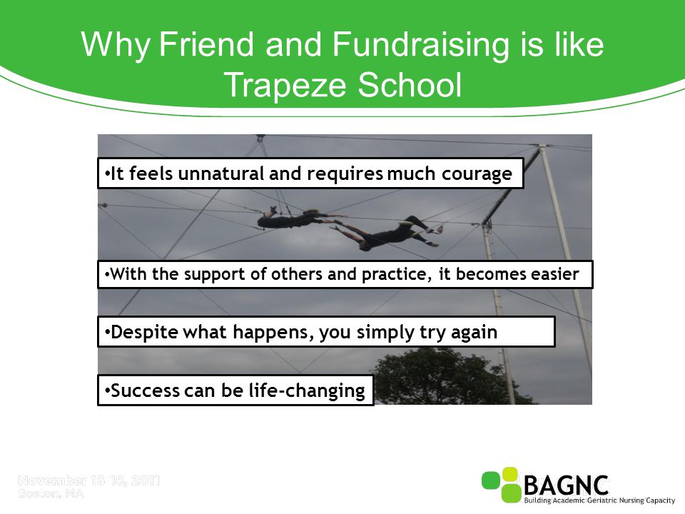Why Friend and Fundraising is like Trapeze School It feels unnatural and requires much courage With the support of others and practice, it becomes easier Despite what happens, you simply try again Success can be life-changing