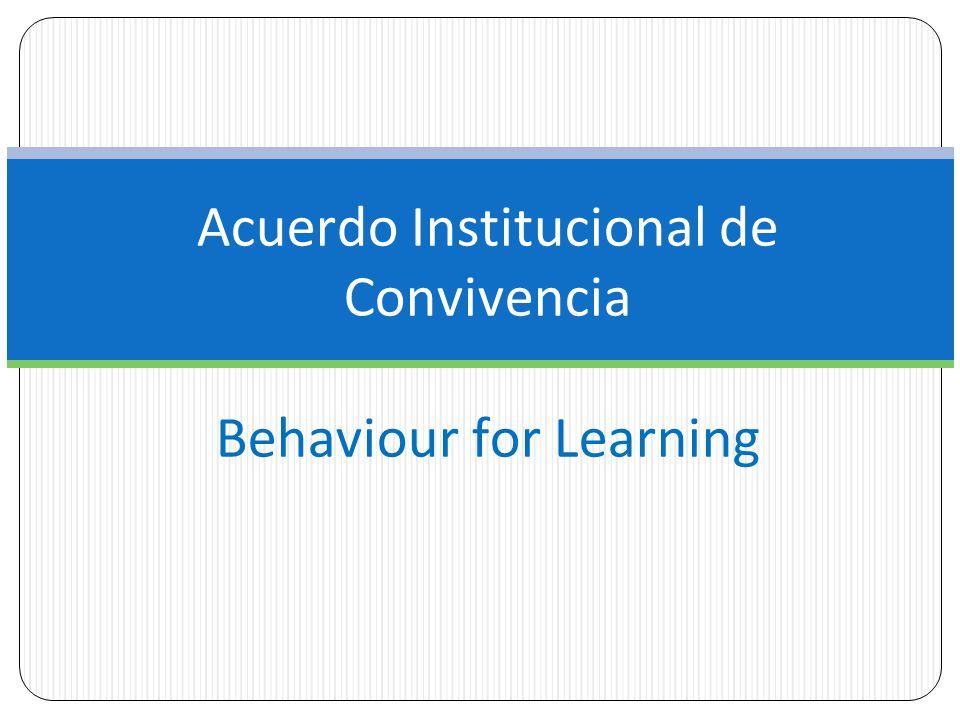 Acuerdo Institucional de Convivencia Behaviour for Learning