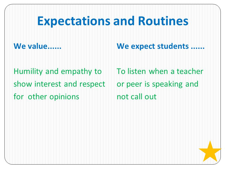 Expectations and Routines We value...... Humility and empathy to show interest and respect for other opinions We expect students...... To listen when