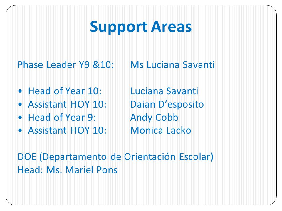 Support Areas Phase Leader Y9 &10: Ms Luciana Savanti Head of Year 10: Luciana Savanti Assistant HOY 10: Daian Desposito Head of Year 9: Andy Cobb Ass
