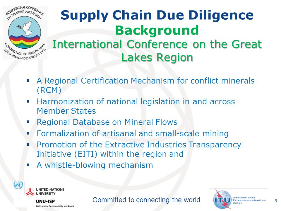 Committed to connecting the world Democratic Republic of Congo Supply Chain Due Diligence Background Democratic Republic of Congo The Congolese Ministry of Mines hosts a number of working groups to coordinate traceability and certification efforts.