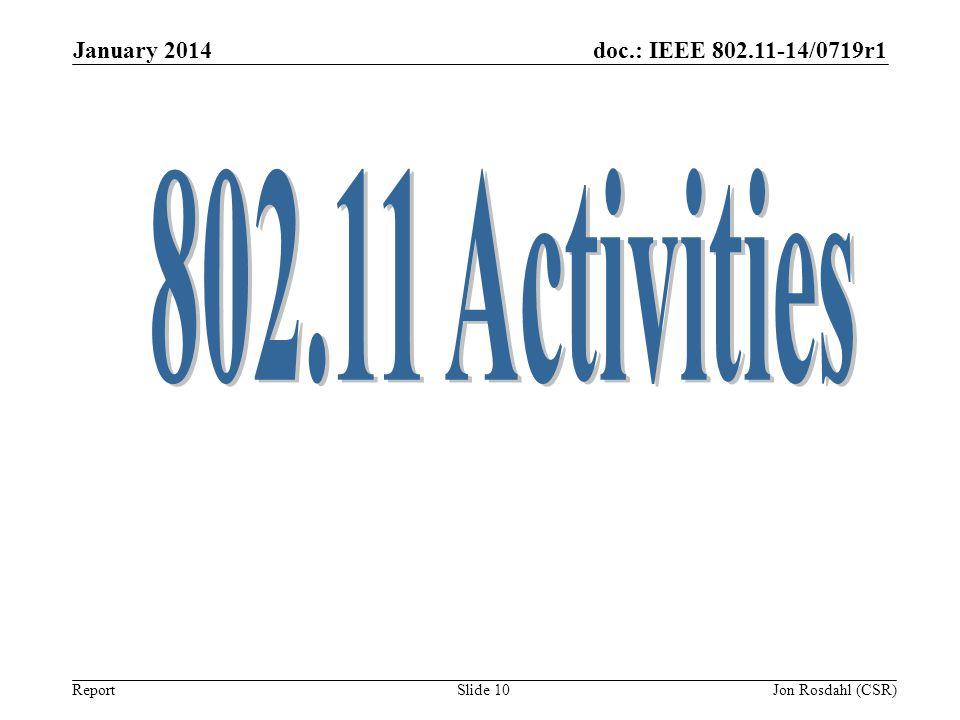 doc.: IEEE 802.11-14/0719r1 Report January 2014 Slide 10 Jon Rosdahl (CSR)