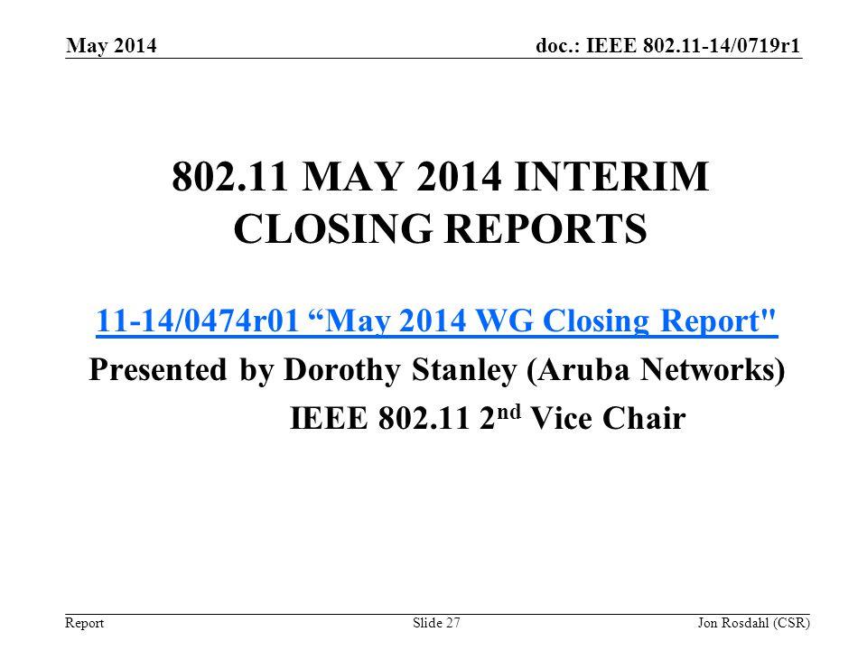 doc.: IEEE 802.11-14/0719r1 Report 802.11 MAY 2014 INTERIM CLOSING REPORTS 11-14/0474r01 May 2014 WG Closing Report