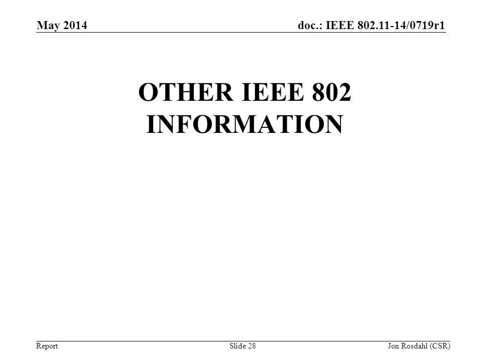 doc.: IEEE 802.11-14/0719r1 Report OTHER IEEE 802 INFORMATION May 2014 Jon Rosdahl (CSR) Slide 28