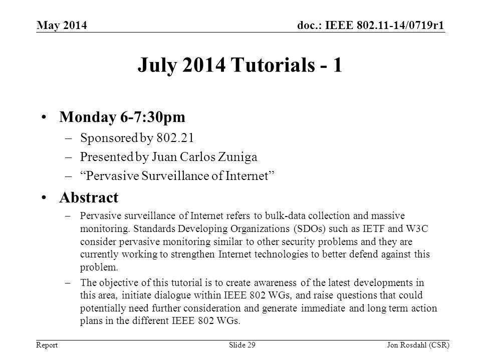 doc.: IEEE 802.11-14/0719r1 Report July 2014 Tutorials - 1 Monday 6-7:30pm –Sponsored by 802.21 –Presented by Juan Carlos Zuniga –Pervasive Surveillan