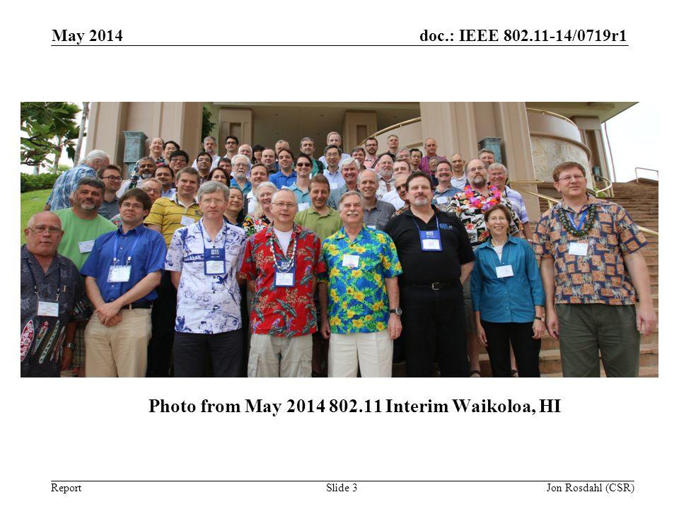 doc.: IEEE 802.11-14/0719r1 Report Photo from May 2014 802.11 Interim Waikoloa, HI May 2014 Jon Rosdahl (CSR) Slide 3