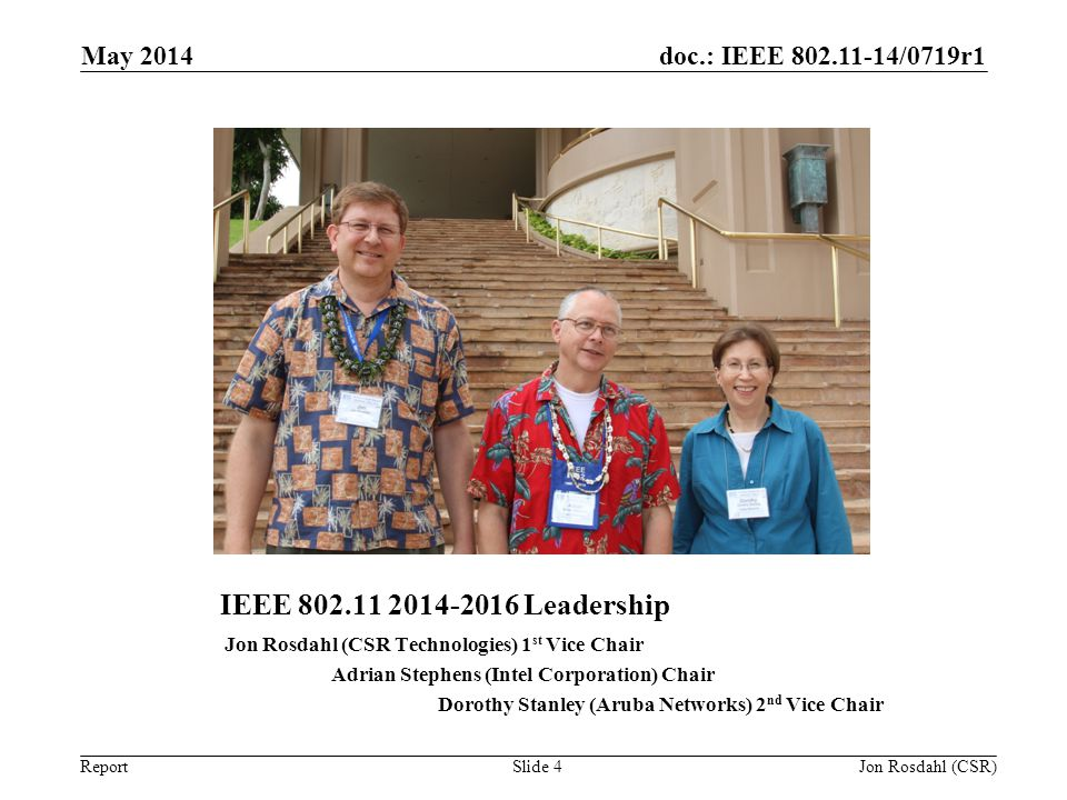 doc.: IEEE 802.11-14/0719r1 Report IEEE 802.11 2014-2016 Leadership Jon Rosdahl (CSR Technologies) 1 st Vice Chair Adrian Stephens (Intel Corporation)