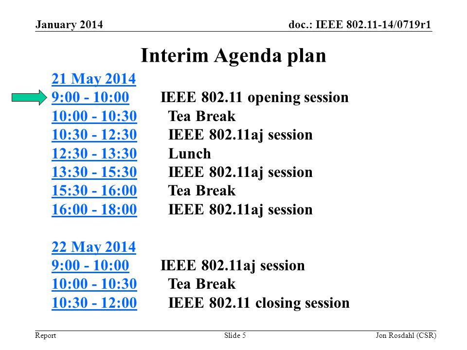 doc.: IEEE 802.11-14/0719r1 Report Interim Agenda plan January 2014 Slide 5 21 May 2014 9:00 - 10:0021 May 2014 9:00 - 10:00 IEEE 802.11 opening sessi
