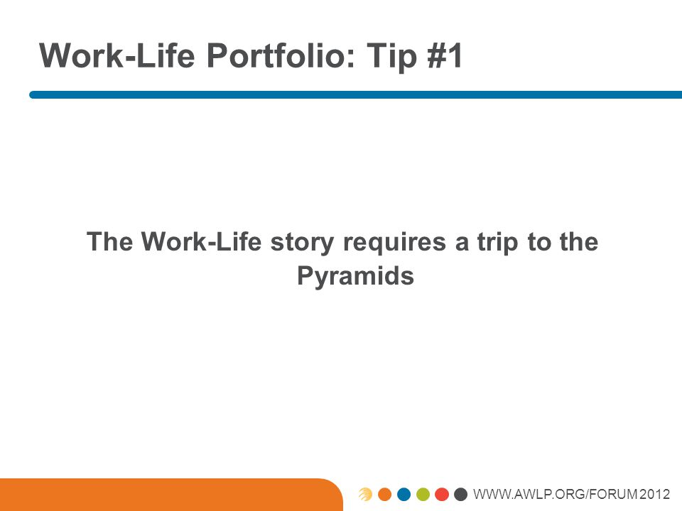WWW.AWLP.ORG/FORUM 2012 How We Will Work Tip #3 Its personal choice working.