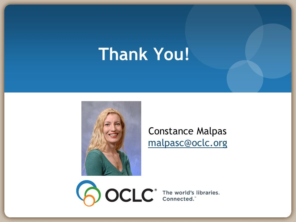 Thank You! Constance Malpas