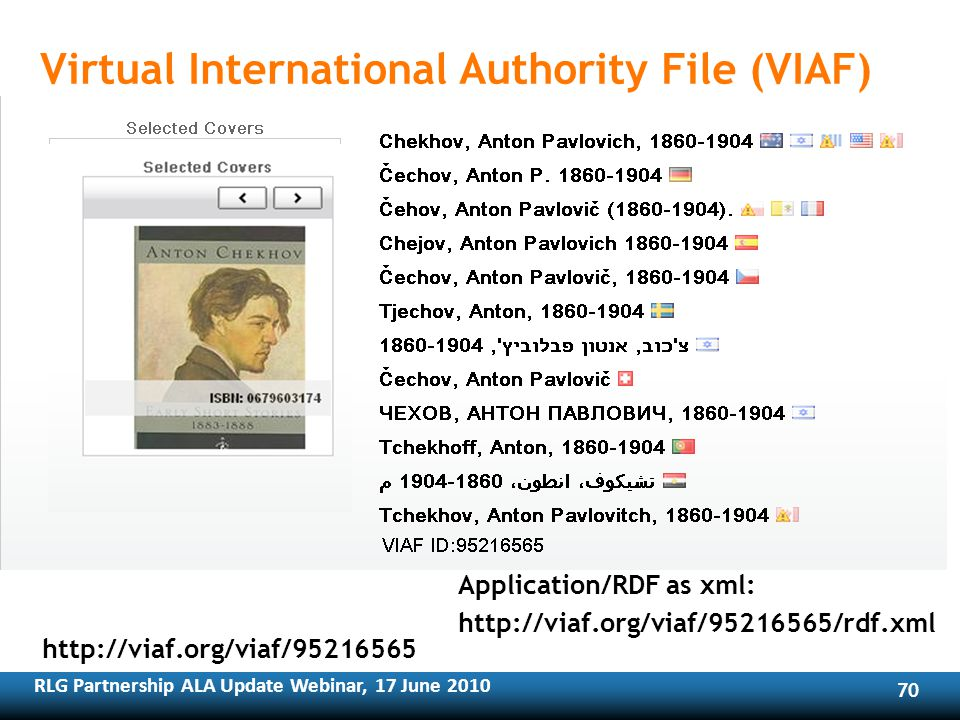 RLG Partnership ALA Update Webinar, 17 June Virtual International Authority File (VIAF)   Application/RDF as xml: