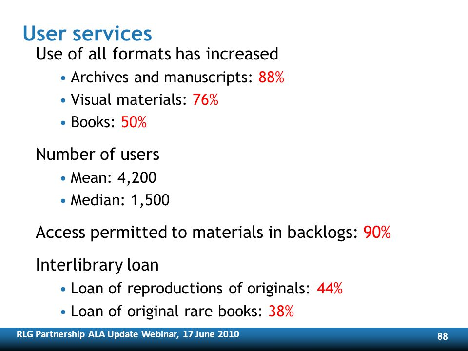 RLG Partnership ALA Update Webinar, 17 June User services Use of all formats has increased Archives and manuscripts: 88% Visual materials: 76% Books: 50% Number of users Mean: 4,200 Median: 1,500 Access permitted to materials in backlogs: 90% Interlibrary loan Loan of reproductions of originals: 44% Loan of original rare books: 38%