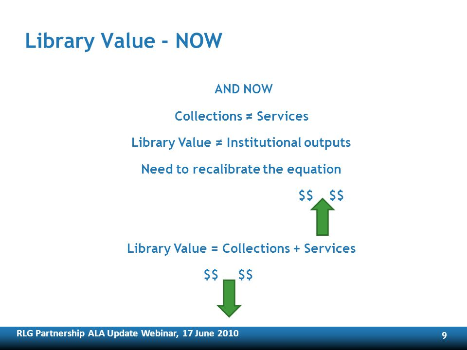 RLG Partnership ALA Update Webinar, 17 June Library Value - NOW AND NOW Collections Services Library Value Institutional outputs Need to recalibrate the equation $$ $$ Library Value = Collections + Services $$ $$