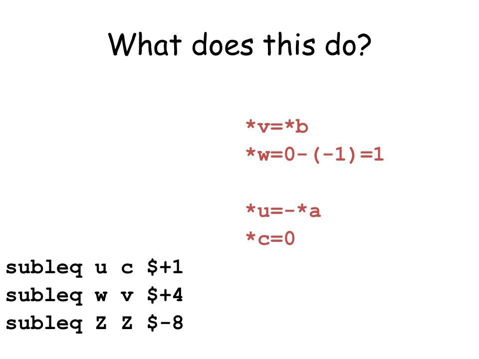 What does this do *v=*b *w=0-(-1)=1 *u=-*a *c=0 subleq u c $+1 subleq w v $+4 subleq Z Z $-8