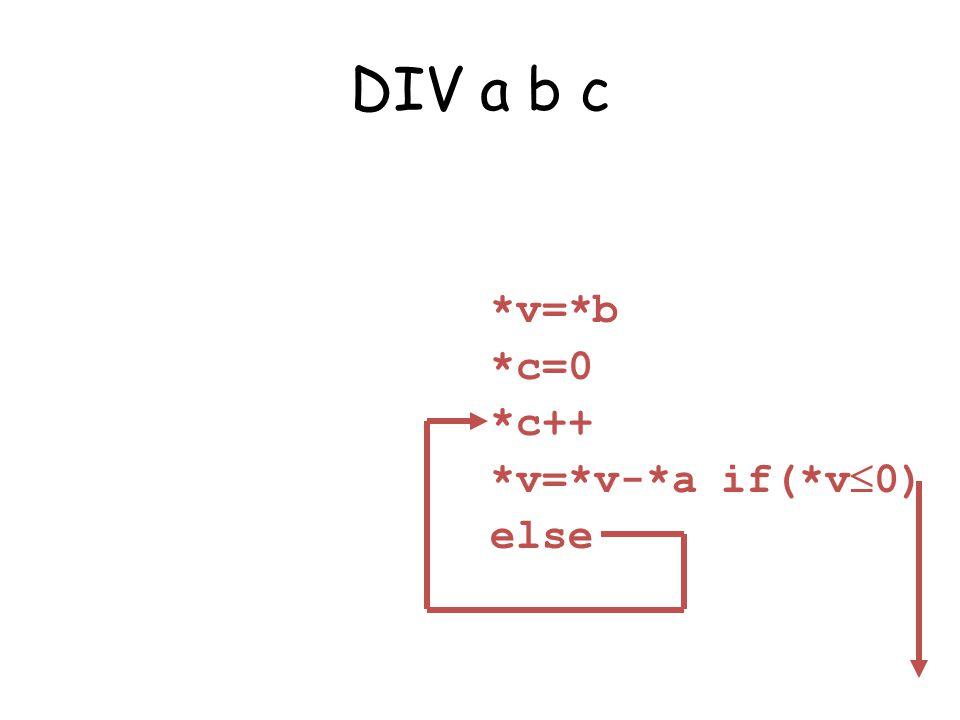 DIV a b c *v=*b *c=0 *c++ *v=*v-*a if(*v 0) else