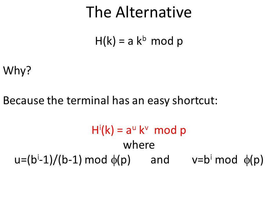 The Alternative H(k) = a k b mod p Why? Because the terminal has an easy shortcut: H i (k) = a u k v mod p where u=(b i -1)/(b-1) mod (p) and v=b i mo