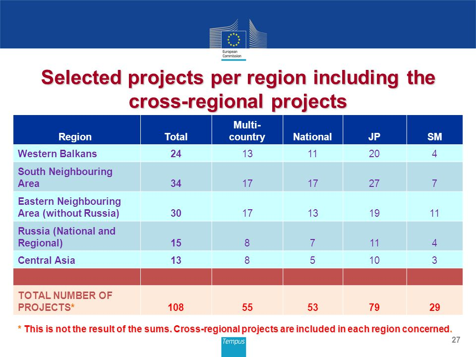 27 Selected projects per region including the cross-regional projects Region Total Multi- countryNationalJPSM Western Balkans241311204 South Neighbouring Area3417 277 Eastern Neighbouring Area (without Russia)3017131911 Russia (National and Regional)1587114 Central Asia1385103 TOTAL NUMBER OF PROJECTS*10855537929 This is not the result of the sums.