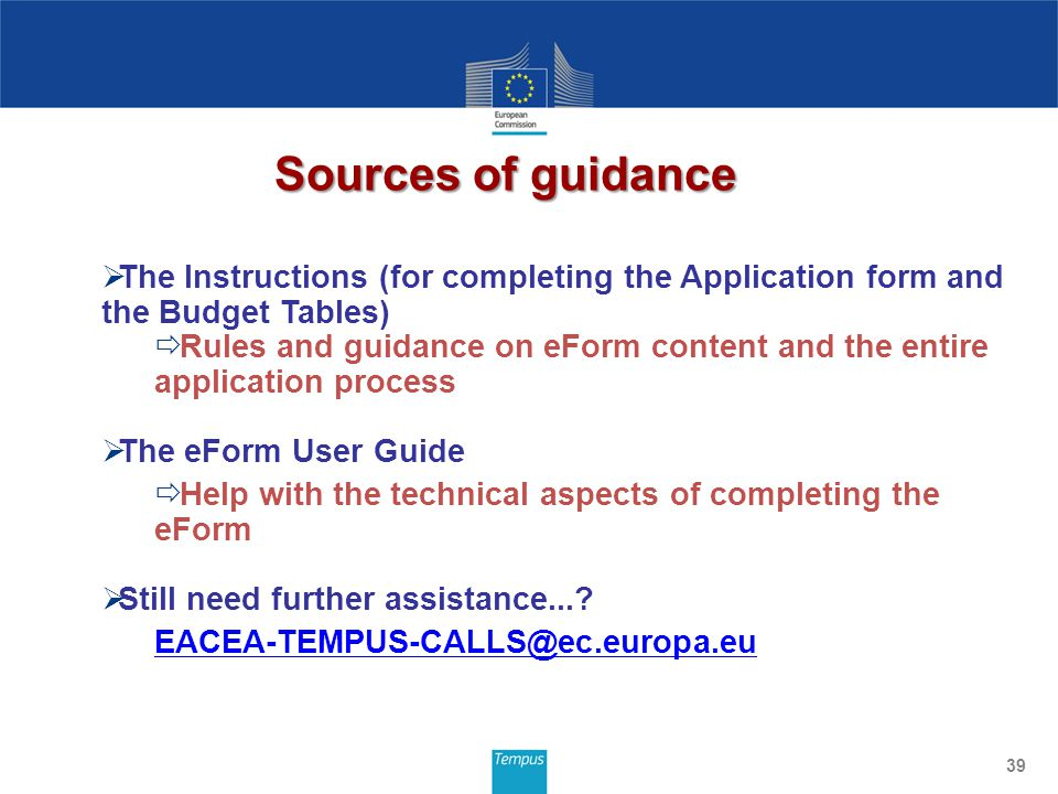Sources of guidance 39 The Instructions (for completing the Application form and the Budget Tables) Rules and guidance on eForm content and the entire