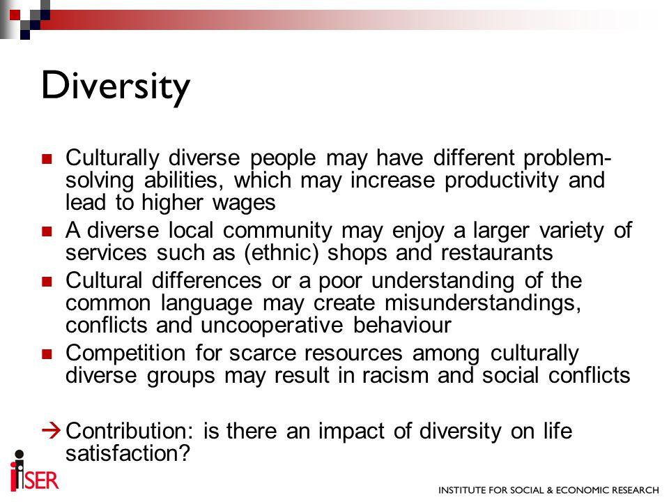 Preliminary Conclusions Diversity does not seem to have a relevant impact on wellbeing, with the exception of religious diversity Higher religious diversity may lead to lower levels of wellbeing in the population Other area characteristics do have an impact Next Steps Endogeneity maybe not a problem here.
