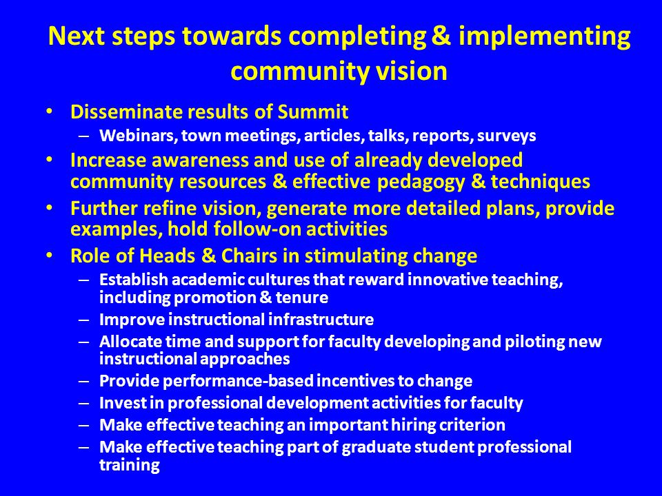 Next steps towards completing & implementing community vision Disseminate results of Summit – Webinars, town meetings, articles, talks, reports, surve