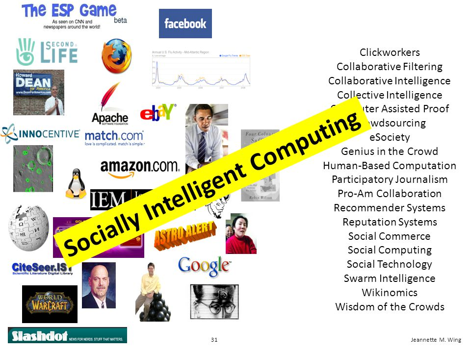31CISE OverviewJeannette M. Wing Clickworkers Collaborative Filtering Collaborative Intelligence Collective Intelligence Computer Assisted Proof Crowd