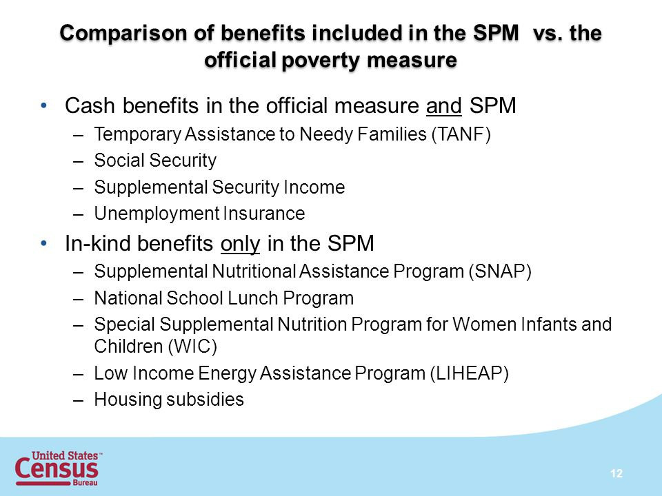 Comparison of benefits included in the SPM vs. the official poverty measure Cash benefits in the official measure and SPM –Temporary Assistance to Nee
