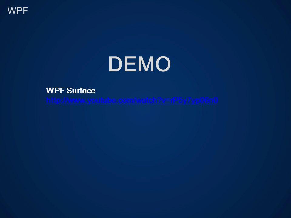 WPF DEMO WPF Surface http://www.youtube.com/watch?v=rP5y7yp06n0
