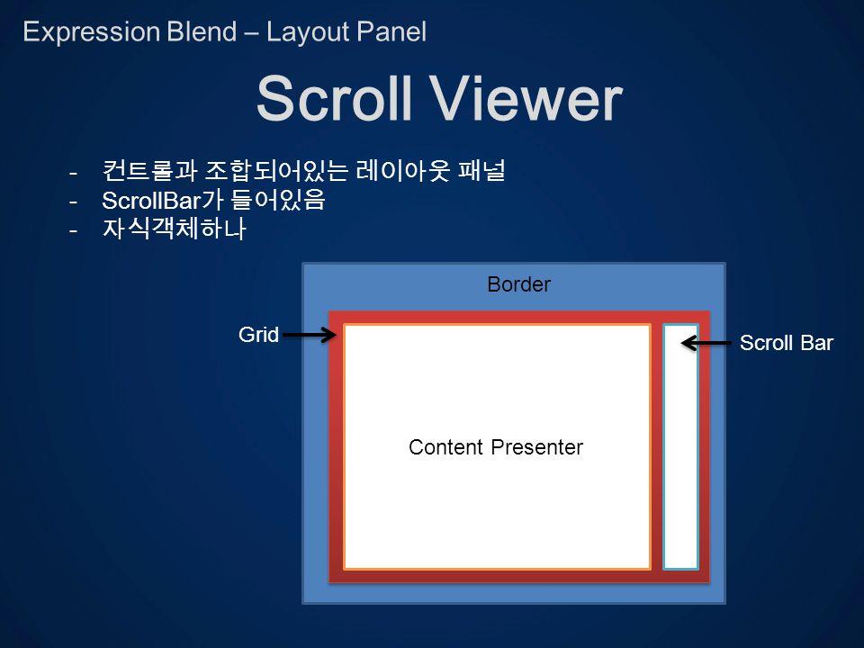 Expression Blend – Layout Panel Scroll Viewer - -ScrollBar - grid Content Presenter Scroll Bar Grid Border