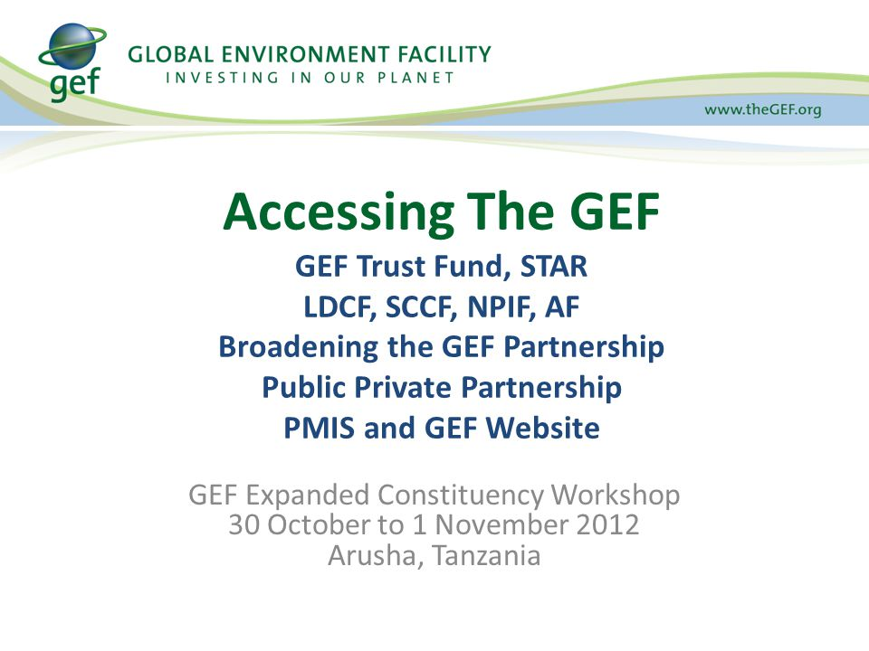 GEF Expanded Constituency Workshop 30 October to 1 November 2012 Arusha, Tanzania Accessing The GEF GEF Trust Fund, STAR LDCF, SCCF, NPIF, AF Broadening the GEF Partnership Public Private Partnership PMIS and GEF Website
