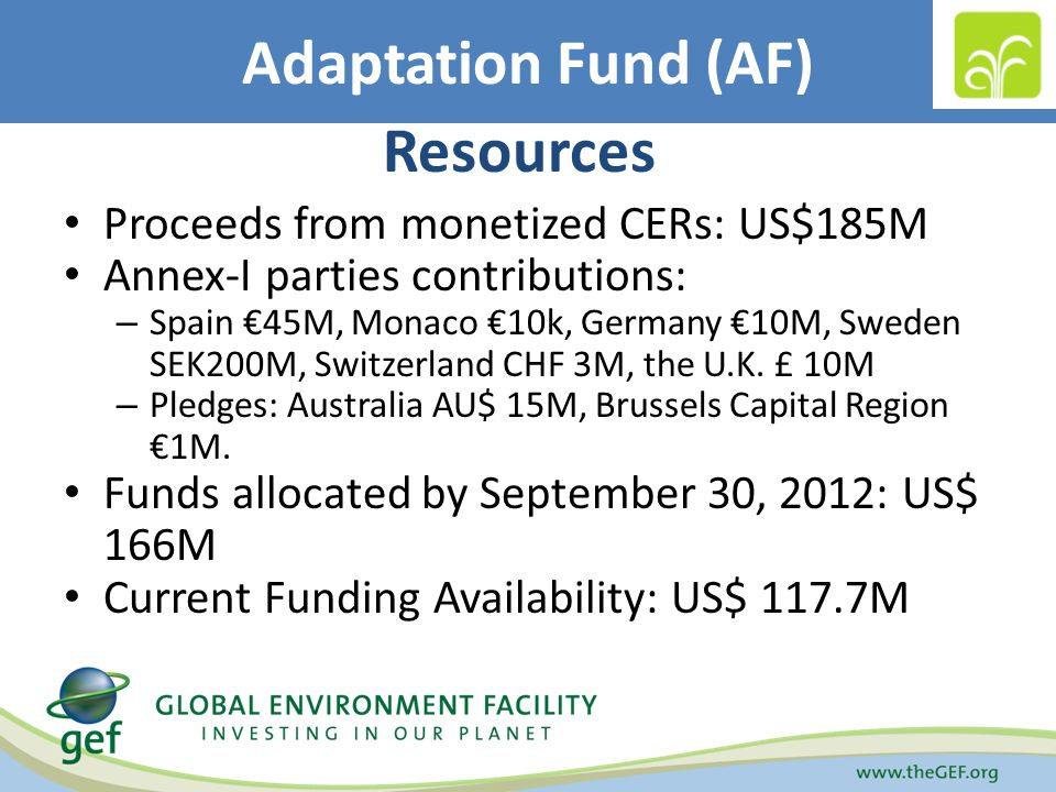 Adaptation Fund (AF) Resources Proceeds from monetized CERs: US$185M Annex-I parties contributions: – Spain 45M, Monaco 10k, Germany 10M, Sweden SEK200M, Switzerland CHF 3M, the U.K.