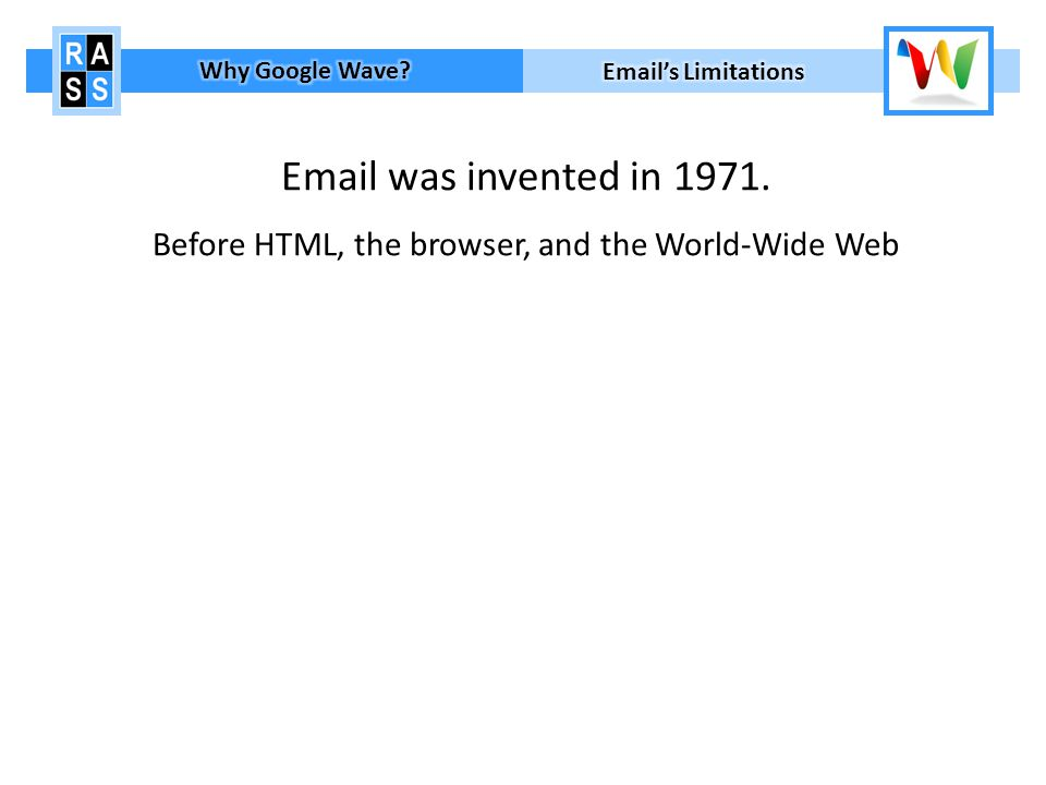 Email was invented in 1971.