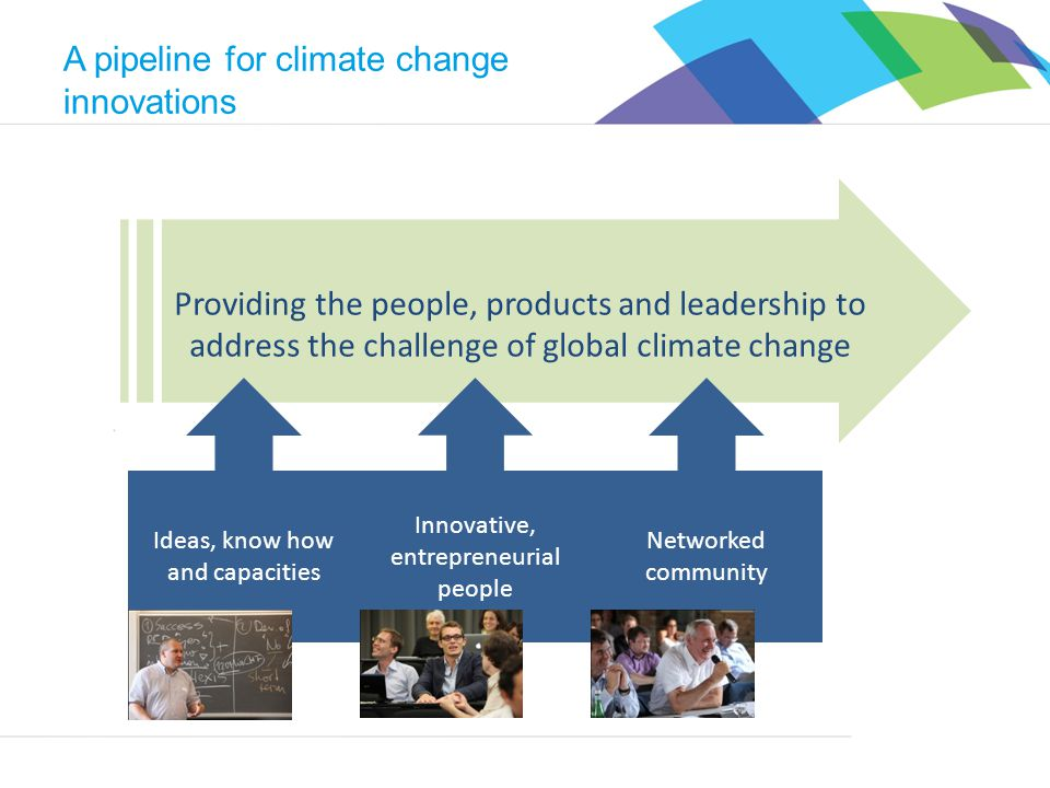 Climate-KIC Providing the people, products and leadership to address the challenge of global climate change A pipeline for climate change innovations Ideas, know how and capacities Innovative, entrepreneurial people Networked community