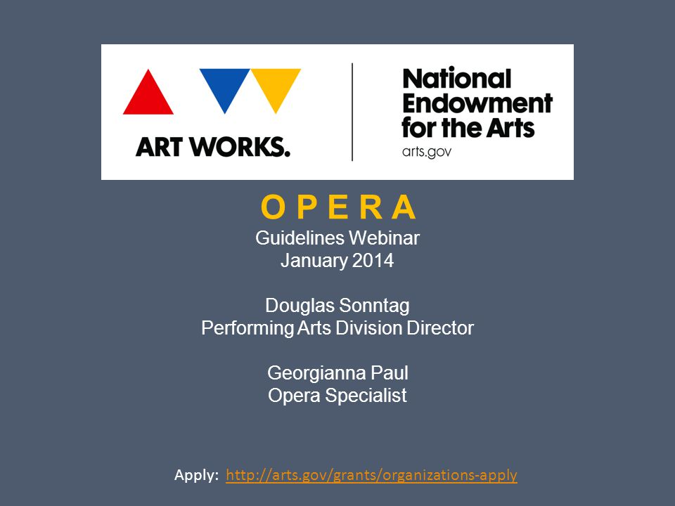 What well cover today: Welcome Opera Overview Applying to Art Works Q & A