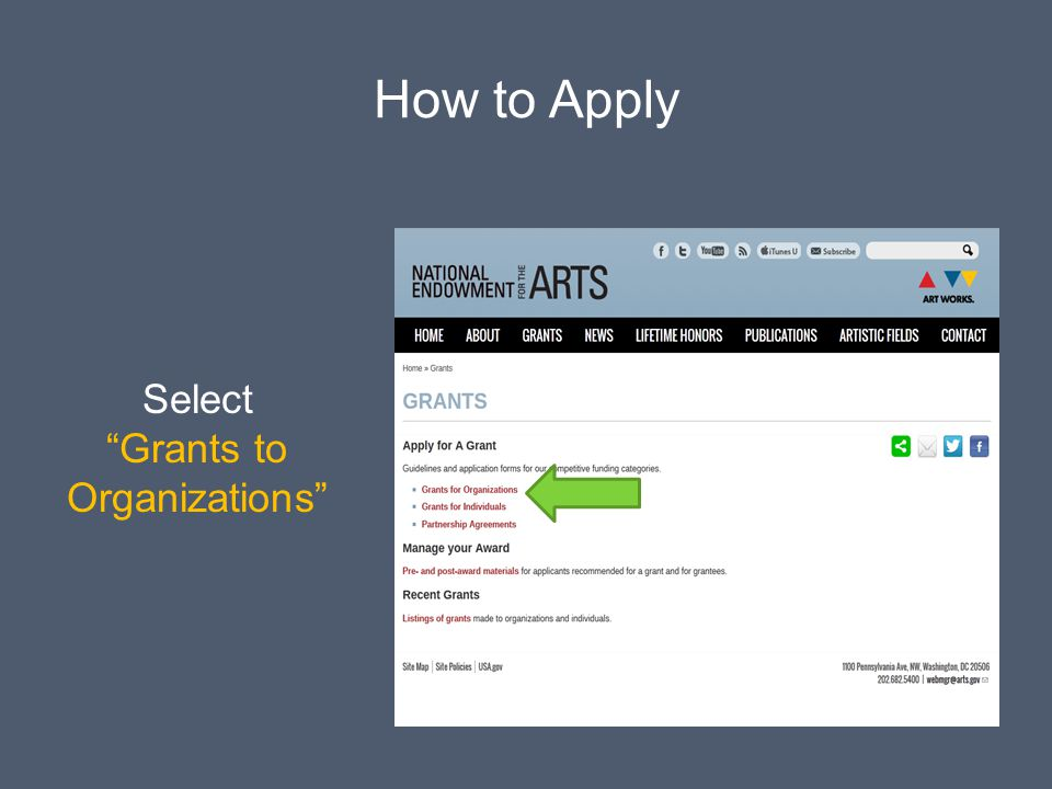 How to Apply Select Grants to Organizations