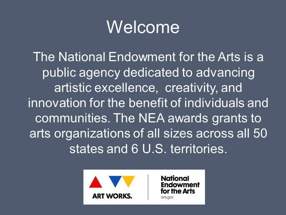 Welcome The National Endowment for the Arts is a public agency dedicated to advancing artistic excellence, creativity, and innovation for the benefit