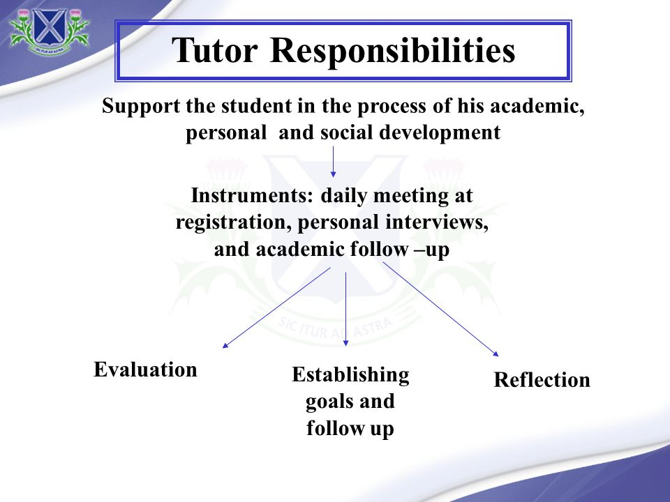 Support the student in the process of his academic, personal and social development Establishing goals and follow up Reflection Instruments: daily meeting at registration, personal interviews, and academic follow –up Evaluation Tutor Responsibilities