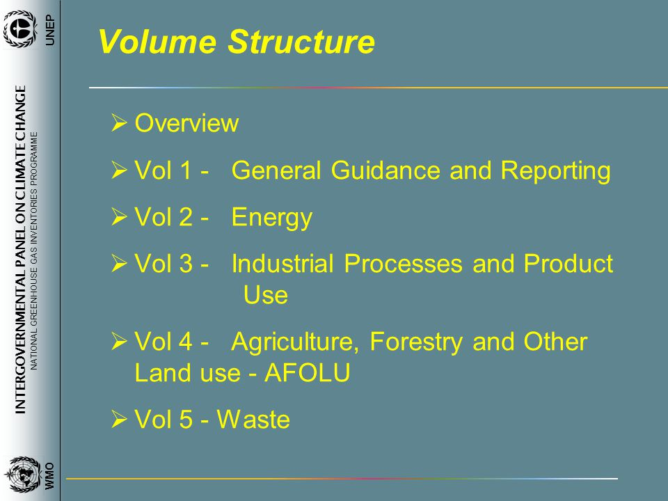 INTERGOVERNMENTAL PANEL ON CLIMATE CHANGE NATIONAL GREENHOUSE GAS INVENTORIES PROGRAMME WMO UNEP Volume Structure Overview Vol 1 - General Guidance and Reporting Vol 2 - Energy Vol 3 - Industrial Processes and Product Use Vol 4 - Agriculture, Forestry and Other Land use - AFOLU Vol 5 - Waste