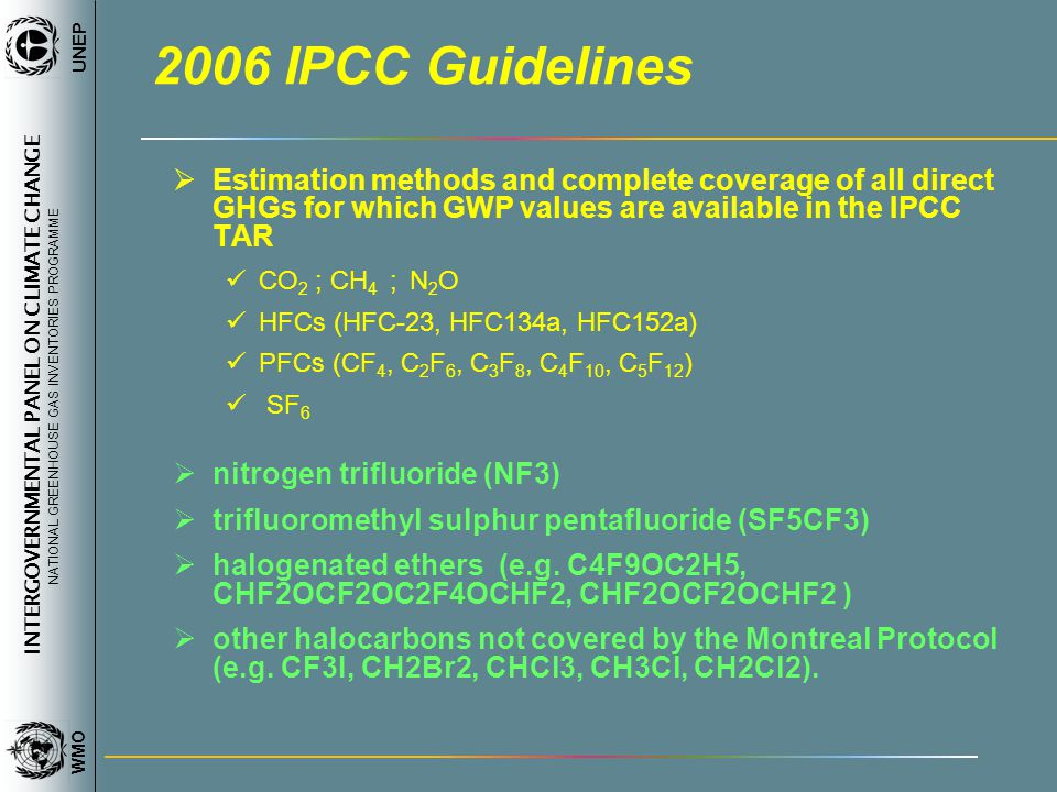 INTERGOVERNMENTAL PANEL ON CLIMATE CHANGE NATIONAL GREENHOUSE GAS INVENTORIES PROGRAMME WMO UNEP 2006 IPCC Guidelines Estimation methods and complete