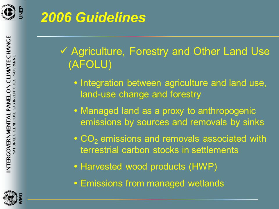 INTERGOVERNMENTAL PANEL ON CLIMATE CHANGE NATIONAL GREENHOUSE GAS INVENTORIES PROGRAMME WMO UNEP 2006 Guidelines Agriculture, Forestry and Other Land