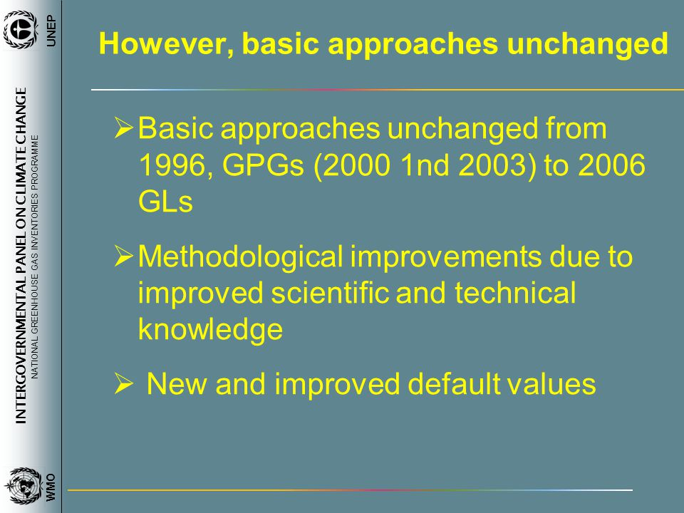 INTERGOVERNMENTAL PANEL ON CLIMATE CHANGE NATIONAL GREENHOUSE GAS INVENTORIES PROGRAMME WMO UNEP However, basic approaches unchanged Basic approaches