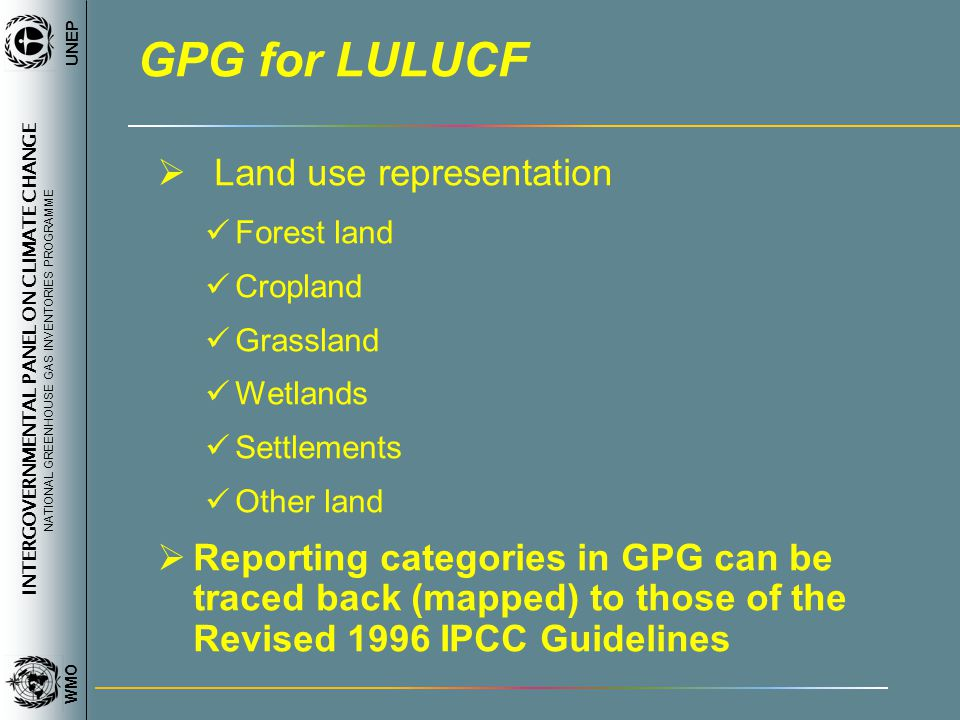 INTERGOVERNMENTAL PANEL ON CLIMATE CHANGE NATIONAL GREENHOUSE GAS INVENTORIES PROGRAMME WMO UNEP GPG for LULUCF Land use representation Forest land Cropland Grassland Wetlands Settlements Other land Reporting categories in GPG can be traced back (mapped) to those of the Revised 1996 IPCC Guidelines