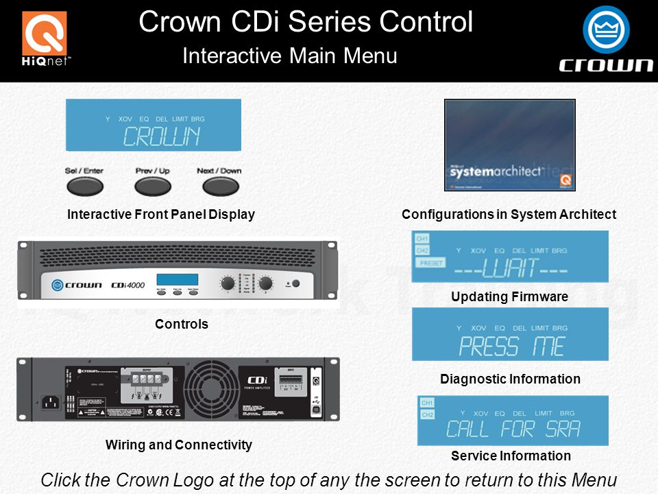 Crown CDi Series Control Back Panel Connections Removable IEC Power Connector 4-Position Barrier Strip Output Terminals Type B USB Connector For Use With HiQnet System Architect Variable Speed Front to Rear Airflow Two 3-pin detachable Phoenix-type connectors each accept a balanced line-level input signal