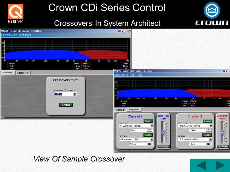 Crown CDi Series Control Crossovers In System Architect View Of Sample Crossover