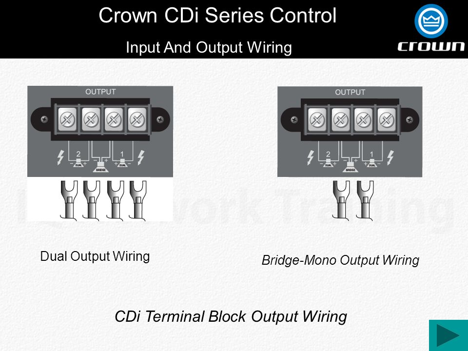 Crown CDi Series Control Input And Output Wiring Dual Output Wiring Bridge-Mono Output Wiring CDi Terminal Block Output Wiring