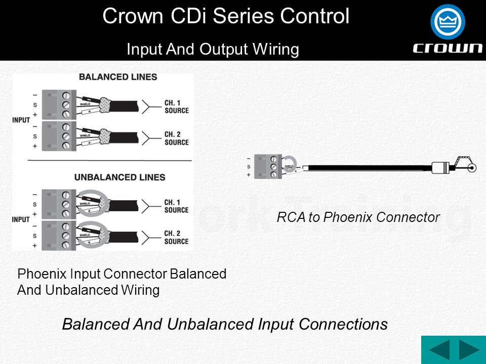 Crown CDi Series Control Input And Output Wiring Phoenix Input Connector Balanced And Unbalanced Wiring Balanced And Unbalanced Input Connections RCA to Phoenix Connector