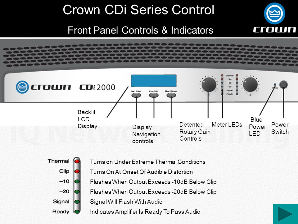 Crown CDi Series Control Front Panel Controls & Indicators Power Switch Blue Power LED Detented Rotary Gain Controls Backlit LCD Display Display Navigation controls Meter LEDs Indicates Amplifier Is Ready To Pass Audio Signal Will Flash With Audio Flashes When Output Exceeds -20dB Below Clip Flashes When Output Exceeds -10dB Below Clip Turns On At Onset Of Audible Distortion Turns on Under Extreme Thermal Conditions