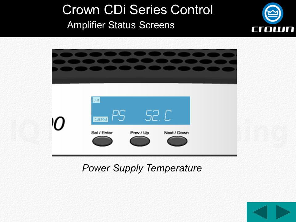 Crown CDi Series Control Power Supply Temperature Amplifier Status Screens