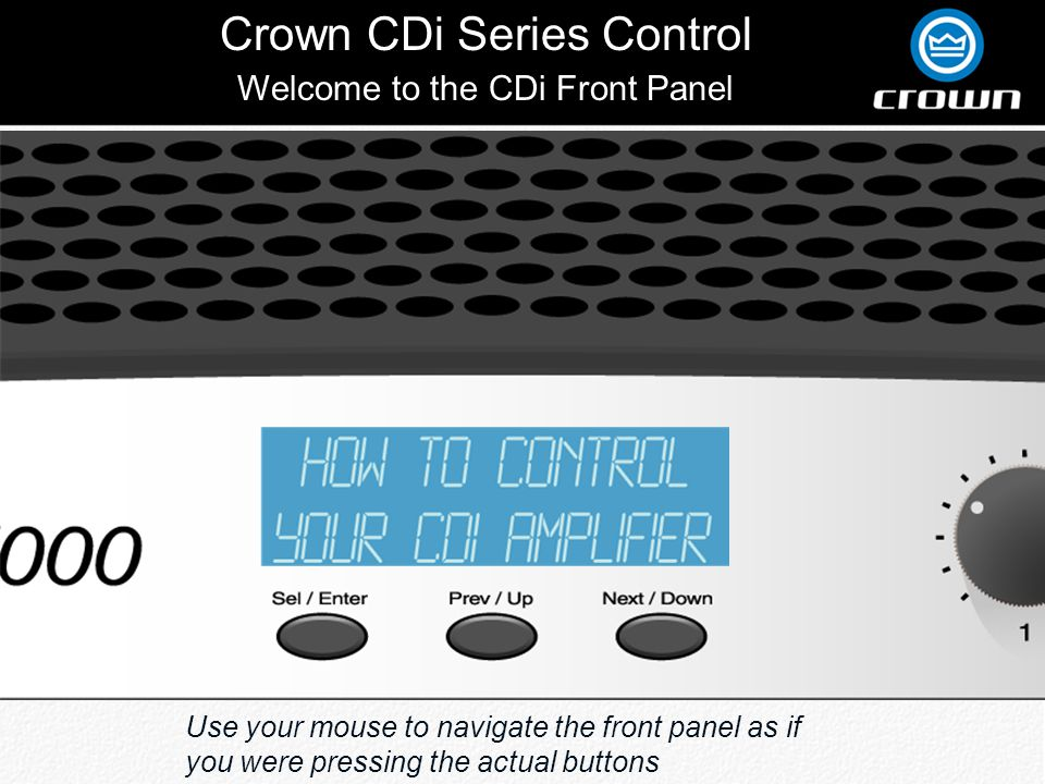 Crown CDi Series Control CH1 + CH2 Input Channel 1 And Channel 2 Inputs are Summed Together And Controlled By Channel 1 Gain Control