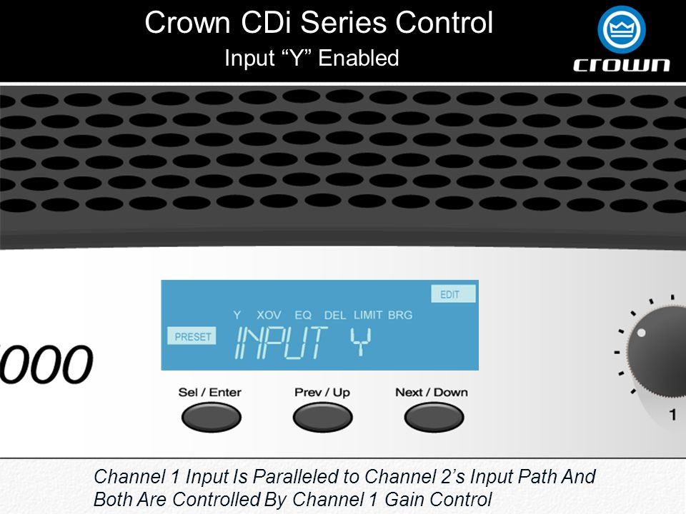 Crown CDi Series Control Input Y Enabled Channel 1 Input Is Paralleled to Channel 2s Input Path And Both Are Controlled By Channel 1 Gain Control