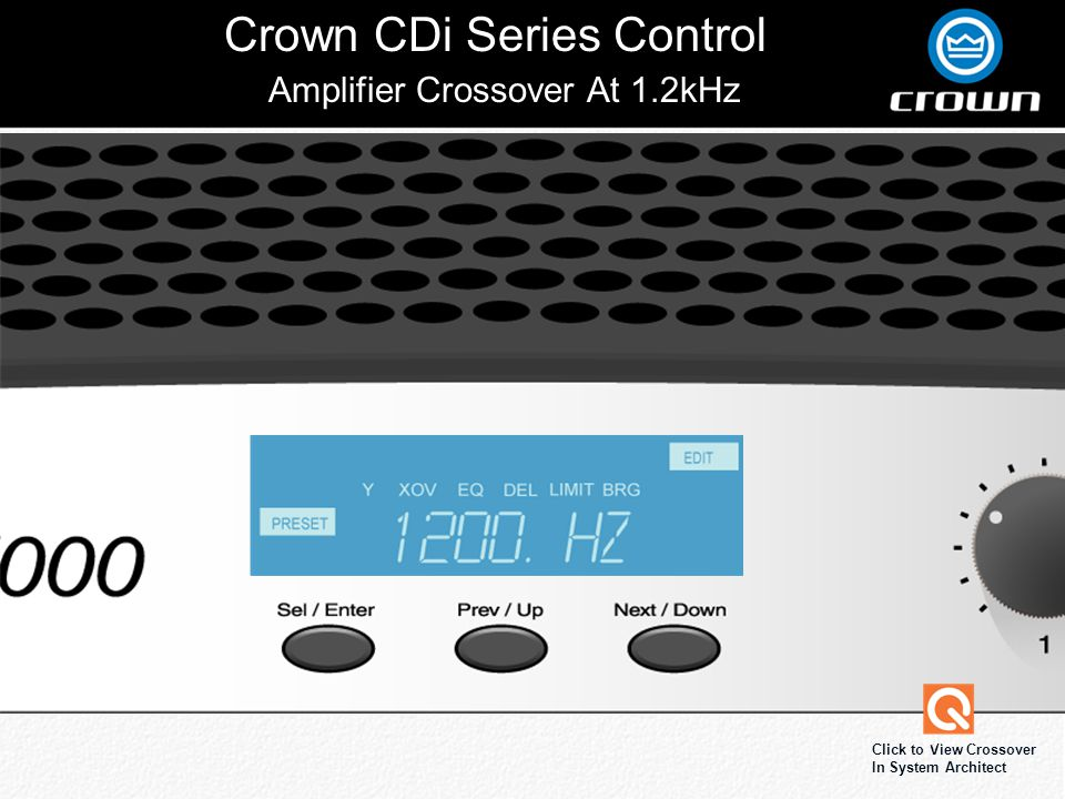 Crown CDi Series Control Click to View Crossover In System Architect Amplifier Crossover At 1.2kHz